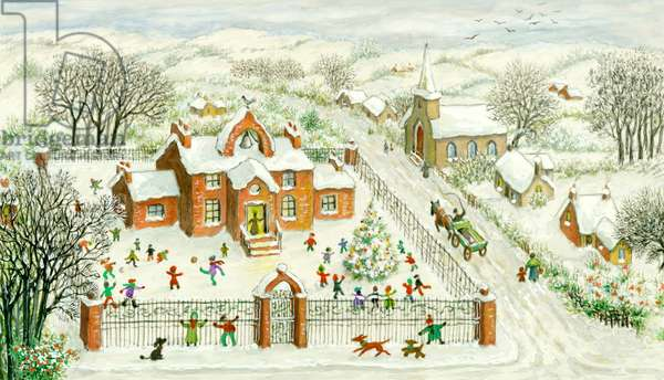 Playtime in the Snow - with school playground and church