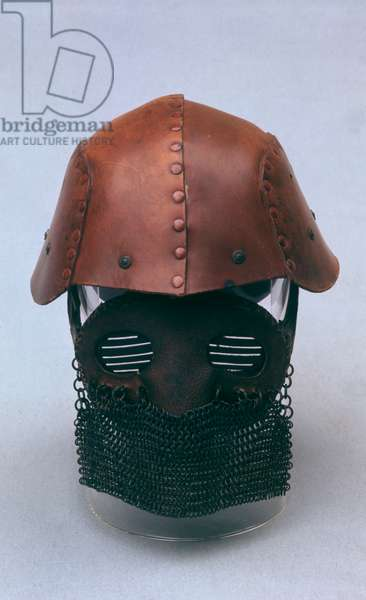 Tank crew protective helmet with chainmail, WW1
