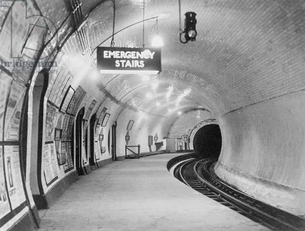 A london underground platform at Bank