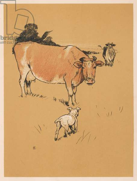 DOG AND COW IN FIELD