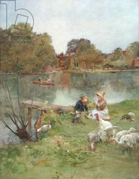 Children sitting by a lake with turkeys