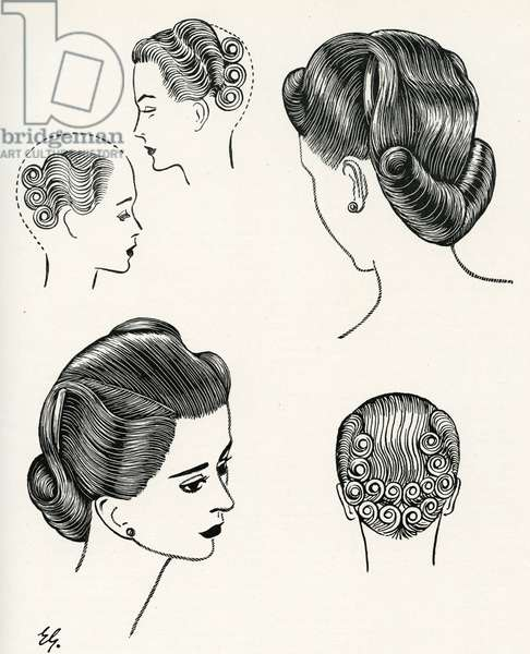 Diagram of V Shaped Rolls Hair Style