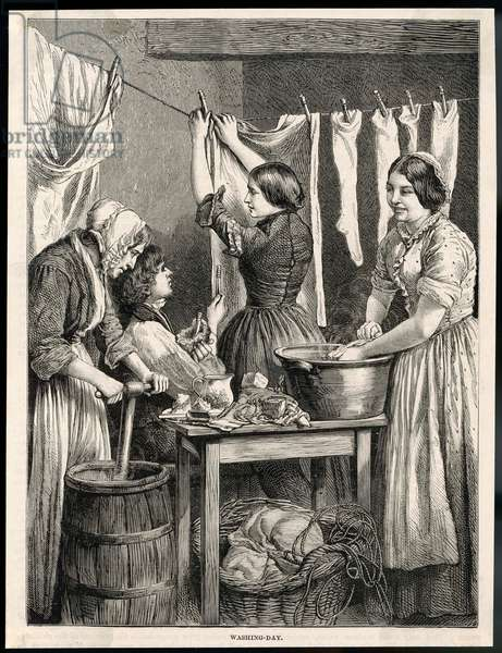 PEGGING OUT WASHING/1875