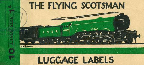 Flying Scotsman luggage label by H. L. Oakley