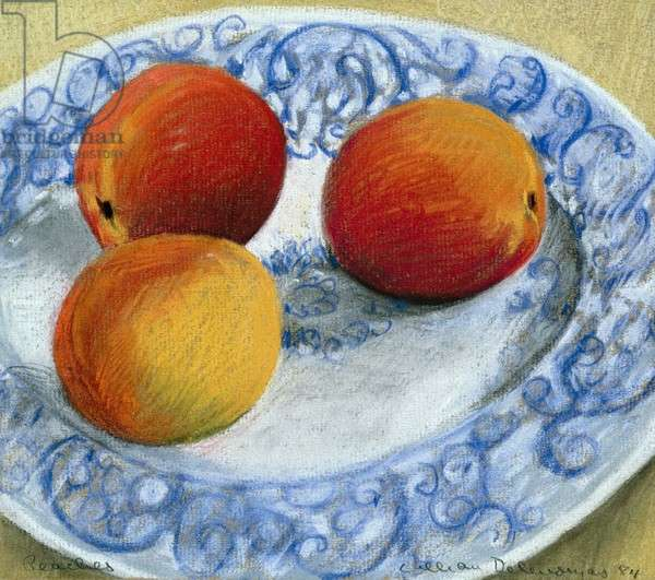 Peaches on a blue and white plate