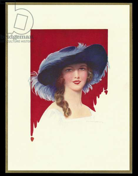 Chocolate box design, lady in wide-brimmed hat