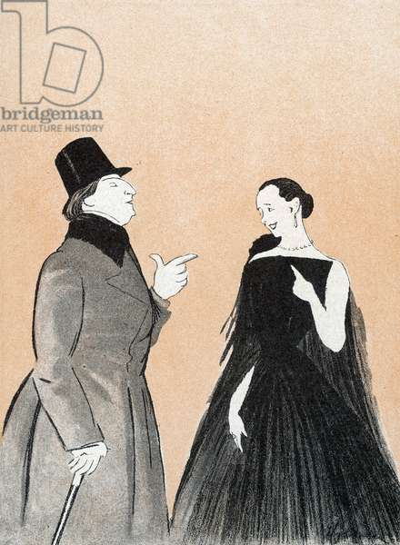 SACHA GUITRY French actor and playwright, with his wife Yvonne Printemps in a production of 'Deburau', 1918 (drawing)