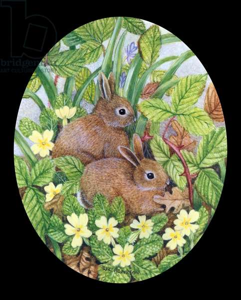Two Baby Rabbits with Primroses