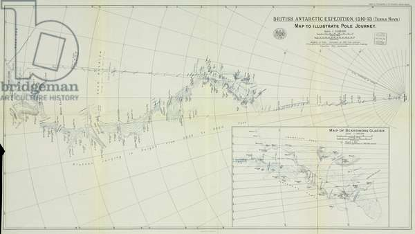 Map of the Terra Nova journey to the South Pole