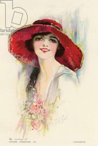 A female portrait in a summer dress and hat