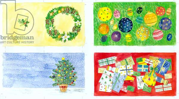 Christmas gift tags - a: Christmas Wreath; b: Tree Baubles e