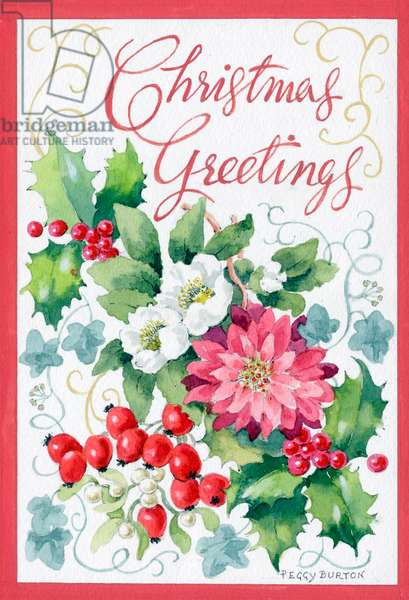 Christmas Greetings' with poinsettias, Christmas roses ect