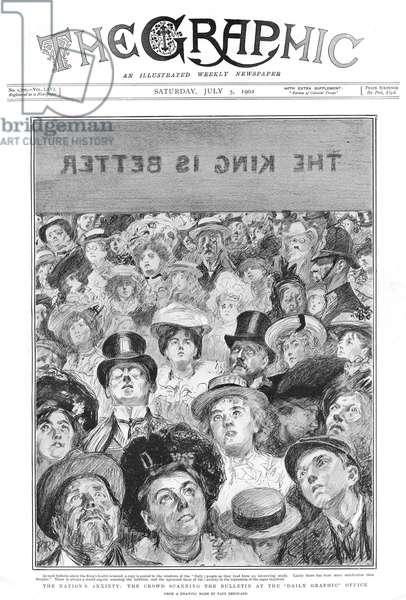 Crowd scanning bulletin about King Edward VII's health