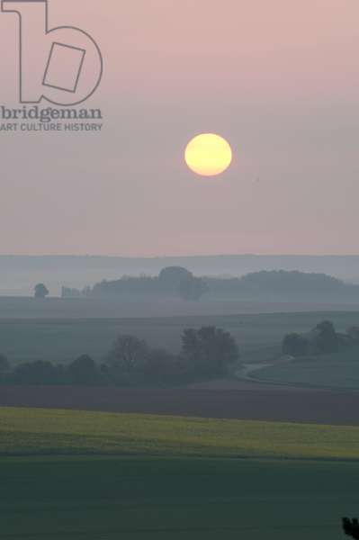 Sunset over the battlefields of the Marne, France