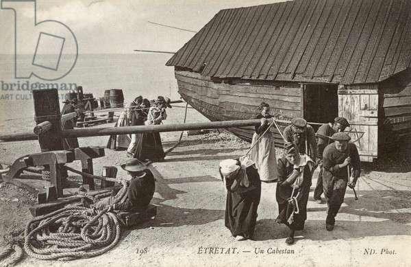 Etretat, France - working a beachside capstan