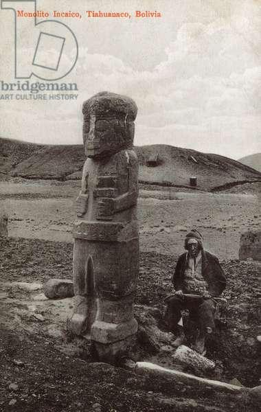 Monolithic stele at Tiwanaku, Bolivia