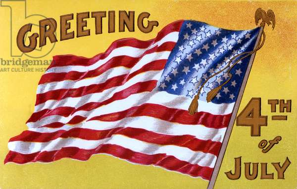 Fourth of July Greetings card, featuring the stars and strip