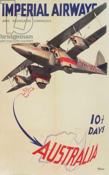 Imperial Airways Poster, flights to Australia