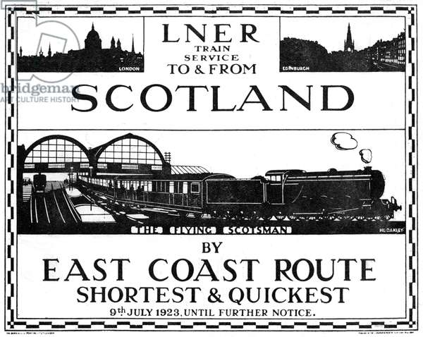 LNER to Scotland advert designed by H. L. Oakley