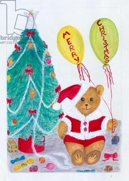 Christmas card with teddy, christmas tree and balloons