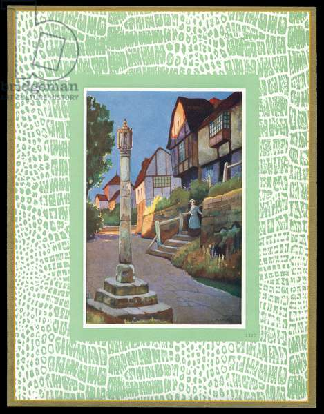 Chocolate box design, village scene with monument