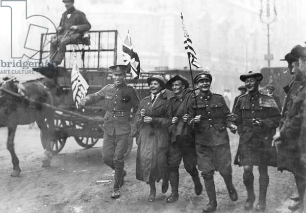 Armistice Day soldiers with flags