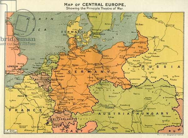 Map of Central Europe, World War One