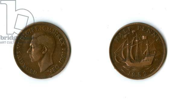 British coin, George VI halfpenny