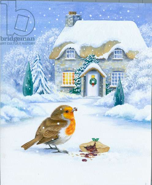 Robin eating a mince pie in the snow