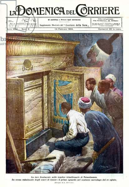 Discovery of the tomb of Tutankhamun, 1924 (lithograph)