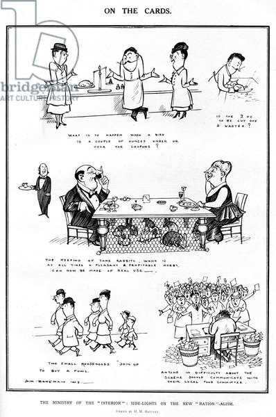 On the Cards by H M Bateman, WW1 rationing cartoon