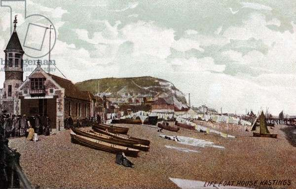 Hastings lifeboat house and beach