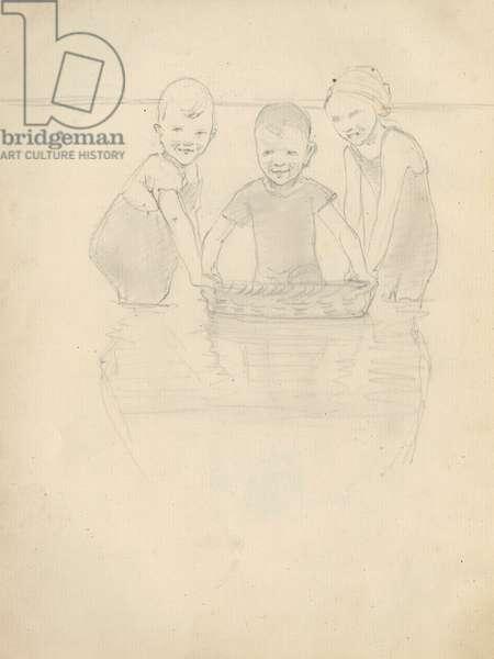 Pencil sketch of three children