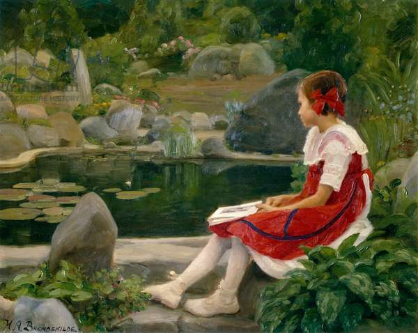 By the Pond girl sitting by a pond