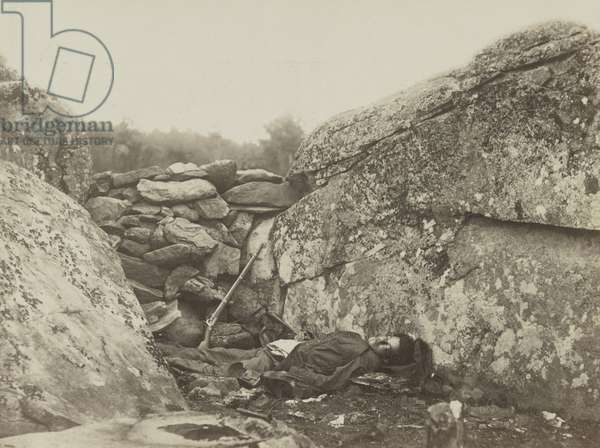 Battle-field of Gettysburg - Dead Confederate sharpshooter a