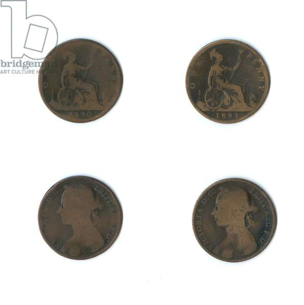 British coins, two Queen Victoria pennies