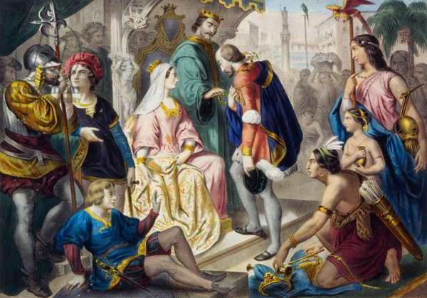 Christopher Columbus returning to Spain