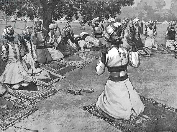 Indian officers praying for recovery of Edward VII, 1902