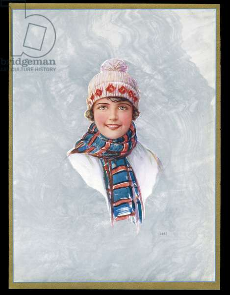 Chocolate box design, lady in woolly hat and scarf