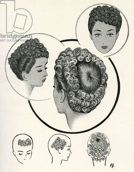 Bull's eye hairstyle 1940s