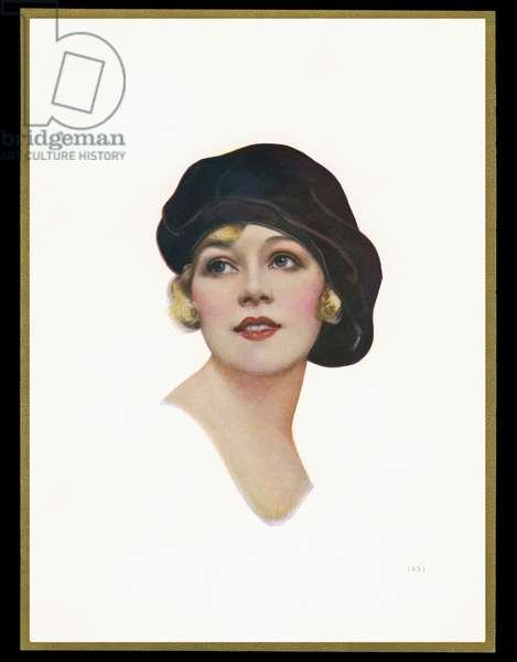 Chocolate box design, lady in black hat