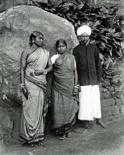 Two women and a man, Ceylon (Sri Lanka)