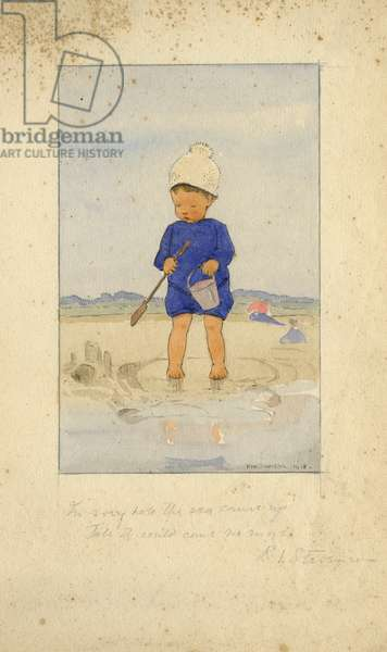 Toddler with bucket and spade by Muriel Dawson