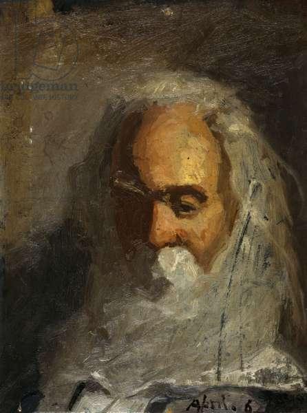 Walt Whitman, head-and-shoulders portrait, facing slightly l