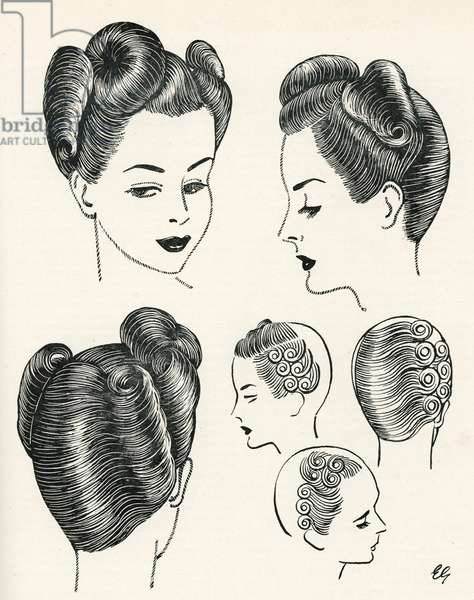 Forward movement hairstyle 1940s