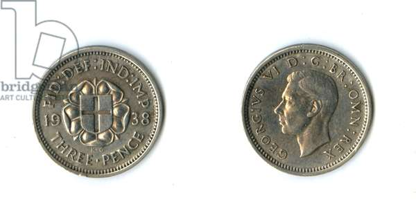 British coin, George VI silver threepenny bit