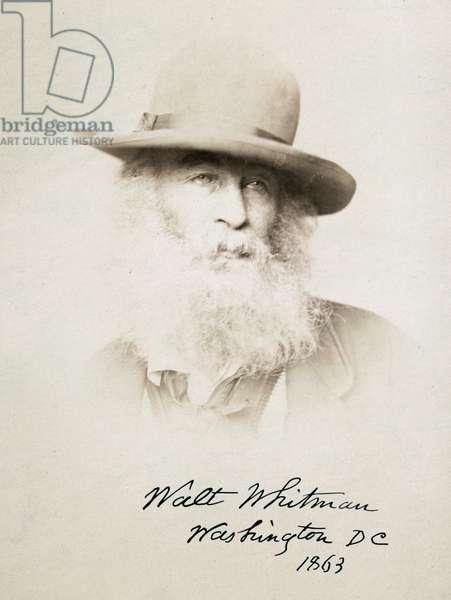 Walt Whitman, head-and-shoulders portrait, facing right, wea