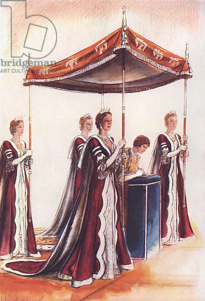The Queen and her canopy bearers