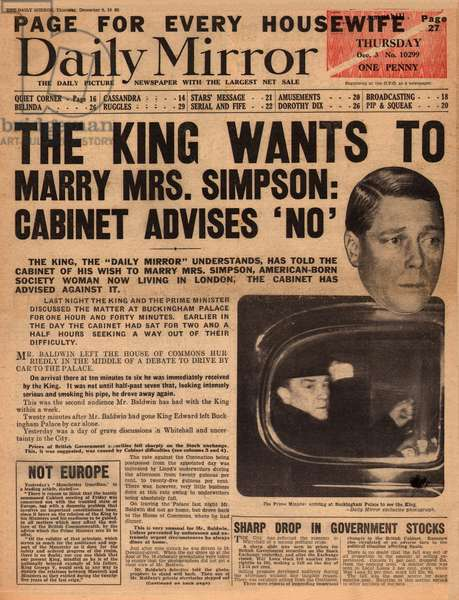 Abdication Crisis -- Edward VIII and Mrs Simpson