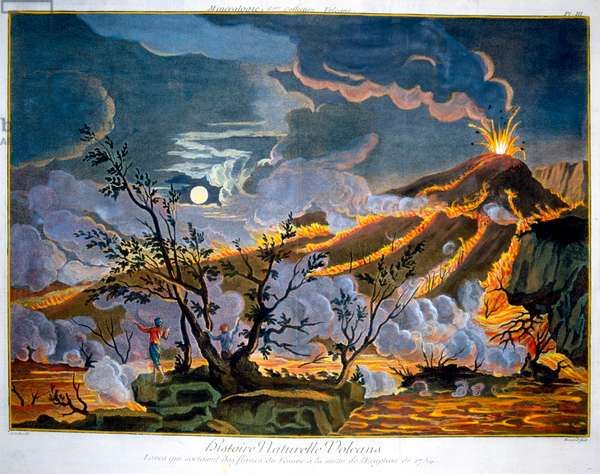 Eruption of the volcano Mount Vesuvius 1754